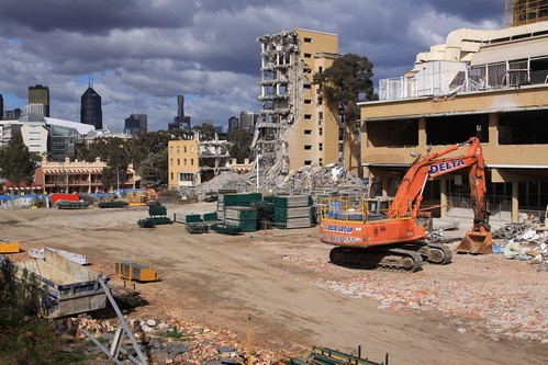 Worked stopped for the weekend at the former Royal Children's Hospital demolition site