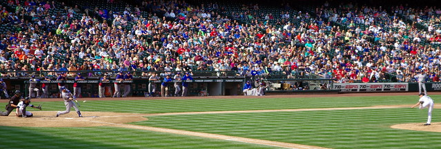 Texas Rangers batter hitting baseball from Seattle Mariners pitcher, Safeco Field September 23 2012