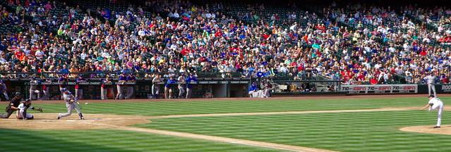 Texas Rangers batter hitting baseball from Seattle Mariners pitcher, Safeco Field September 23 2012