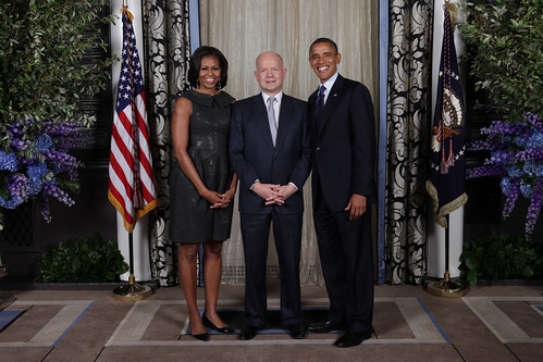 UK Foreign Secretary William Hague meets with the US President Barack Obama and First Lady Michelle Obama