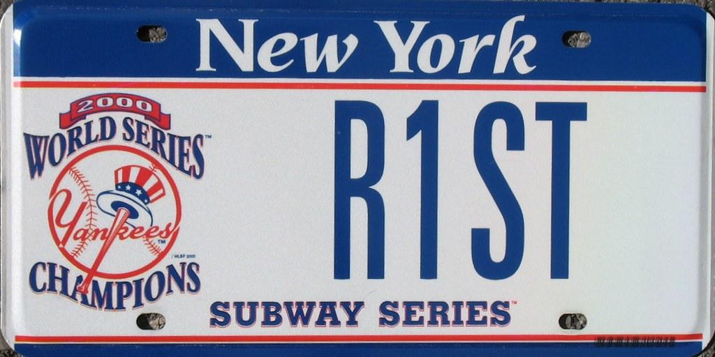 New York Yankees 2000 Subway Series World Championship License Plate Baseball MLB