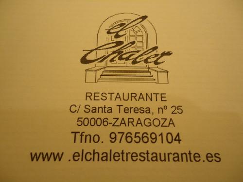 Zaragoza | El Chalet | Menú Tapas 2012