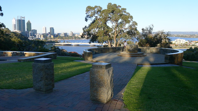 Another memorial in the Botanical Gardens with a view of Perth CBD