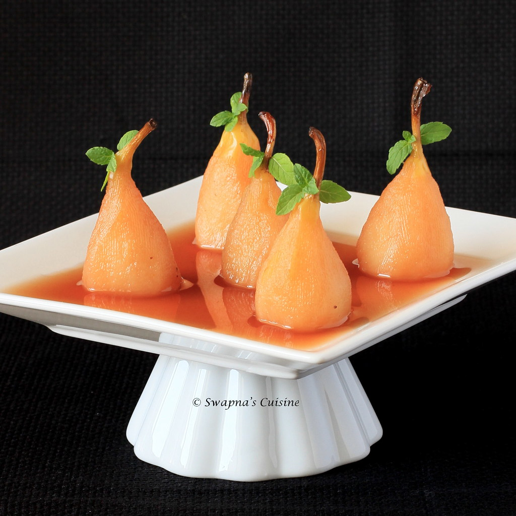 Poached Pears in Wine