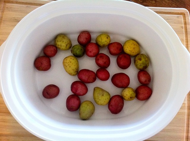 Washed Baby Potatoes Added to Slow Cooker