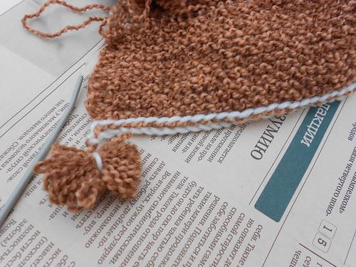 наборный край носков с поперечным вязанием