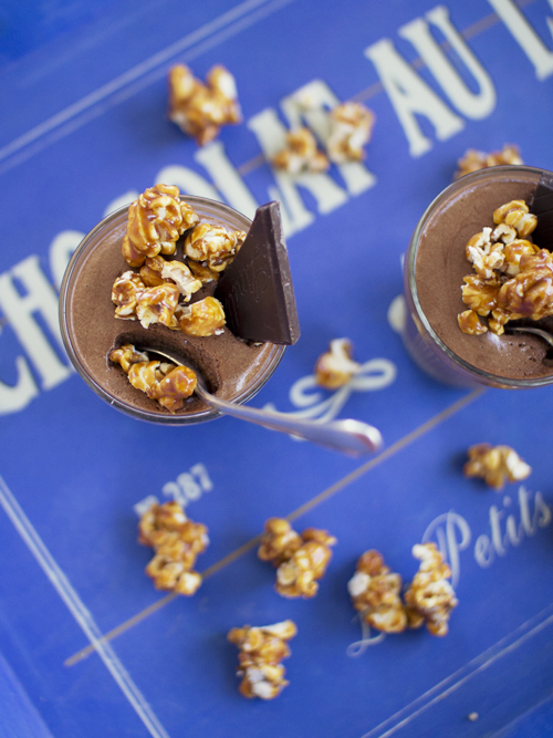 chocolate mousse with candied popcorn