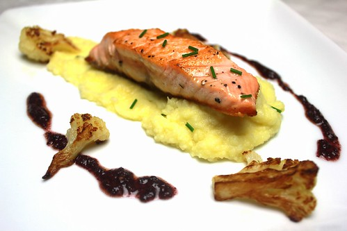 seared salmon and cauliflower mash with purple basil pesto
