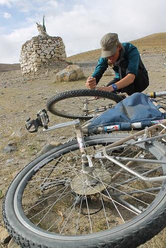 Reassembling the bikes near Kibber