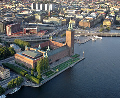 Stockholms Stadshus / View over Stockholms City Hall from Hot Air Balloon..