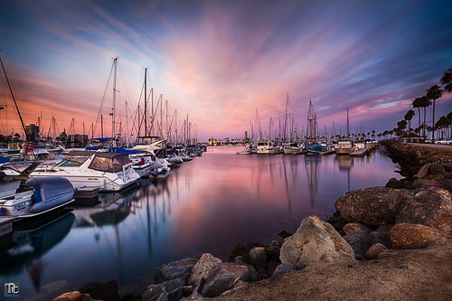 sunset reflection boats harbor dock longbeach longbeachharbor