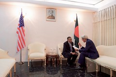 U.S. Secretary of State John Kerry holds a one-on-one chat with Bangladeshi Foreign Minister Mahmood Ali before a working lunch on August 29, 2016, at Padma House in Dhaka, Bangladesh. [State Department Photo/ Public Domain]