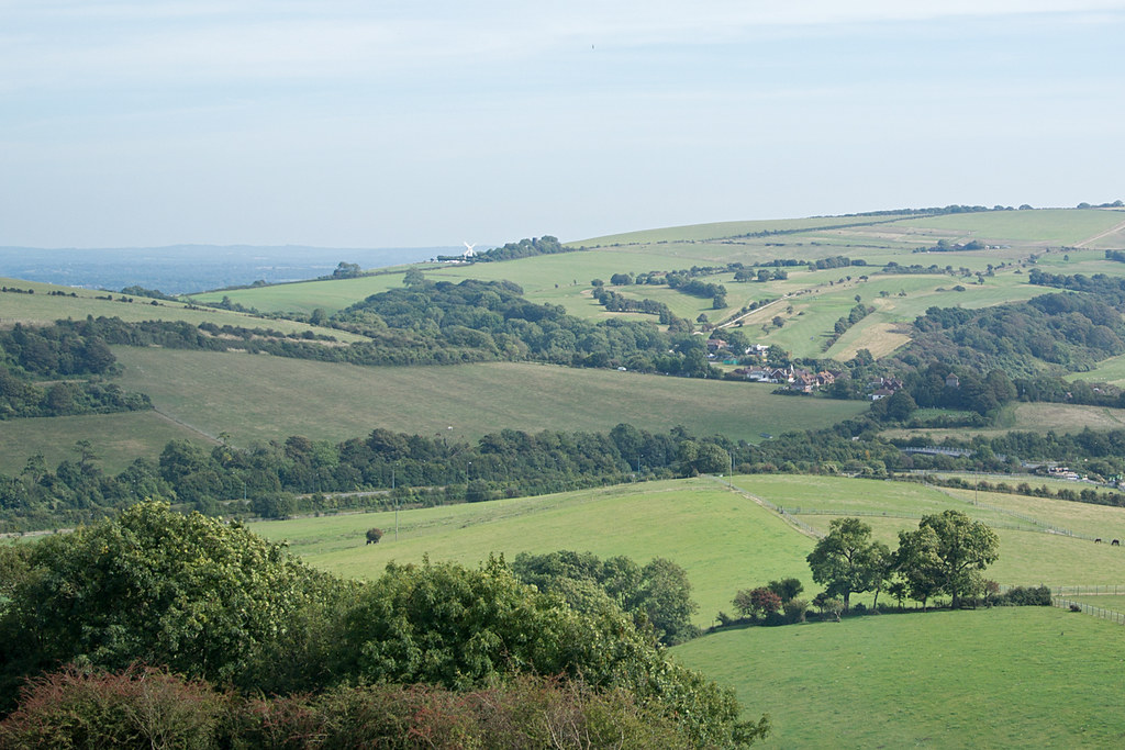 View from beyond Wolstonbury Hill Hassocks to Upper Beeding