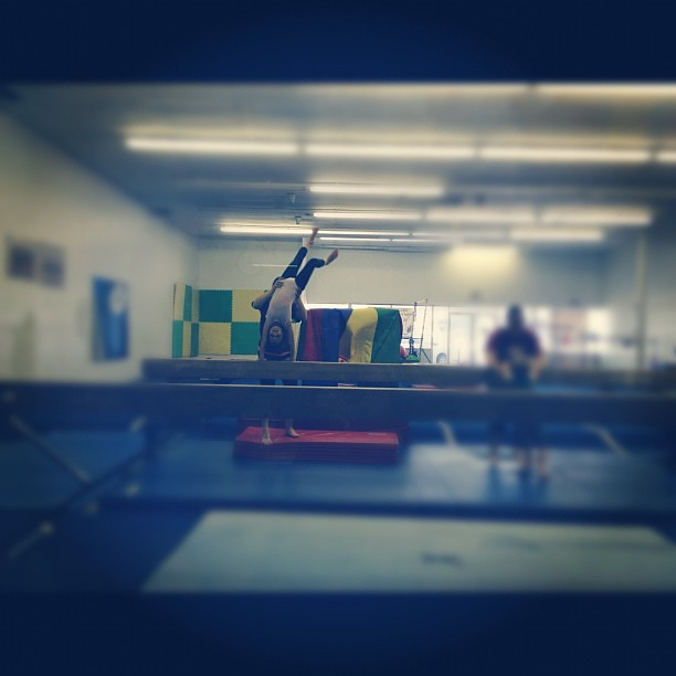 Kenniston also did a cartwheel off of the high beam! #proudmama