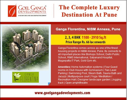 Ganga Florentina - 2, 3 and 4 BHK Apartments 1100-2910 sq ft at NIBM Annexe, Pune by Goel Ganga Developments, Price range Rs 66 lac onwards by jungle_concrete