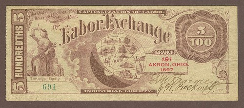 Akron, Ohio 1897 Labor Exchange Note, Branch 191, SN 691(1000)
