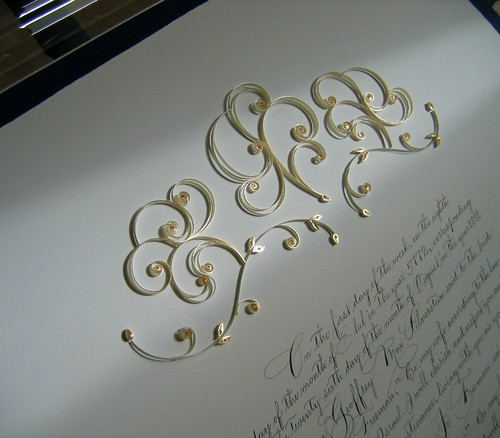Quilled Gold and Ivory Ketubah