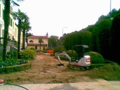 Lavori sul giardino di Villa Boldù