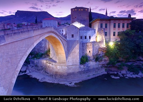 Bosnia & Herzegovina - Mostar on Neretva River - Old Bridge Area of the Old City of Mostar - UNESCO World Heritage site