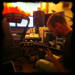 Stephen Gladney recording with Jon Caz