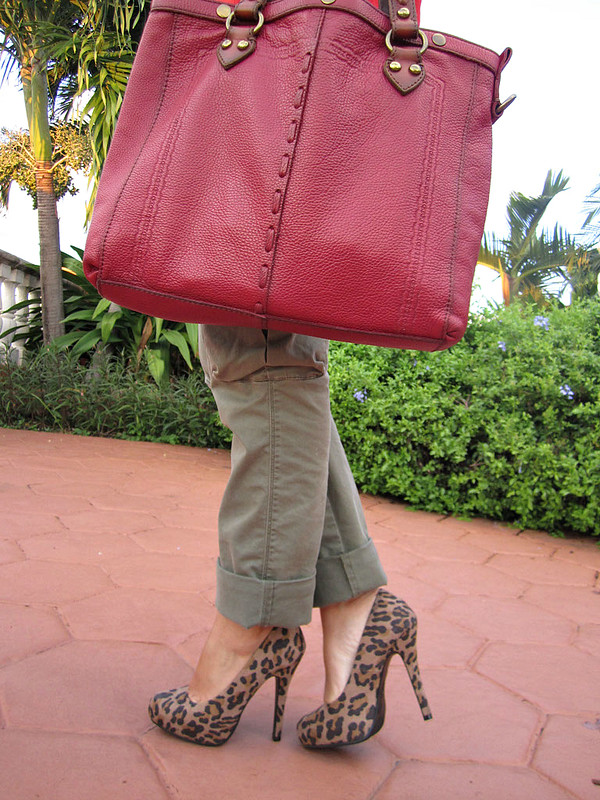Leopard Shoes and Red Bag