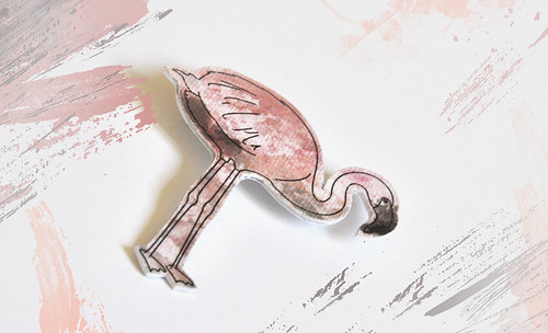 Paper Flamingo Brooch by S.CHICK