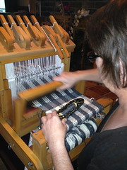 Weaving with my Mom, Action shot 2
