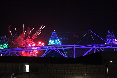 Fireworks over Olympic stadium during screening