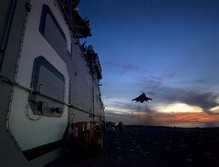 An AV-8B Harrier jet aircraft assigned to Marine Attack