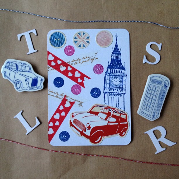 I also want a #minicooper . #bigben #clock #buttons #washitape #hearts #red #white #blue #hearts #postcard #british #london