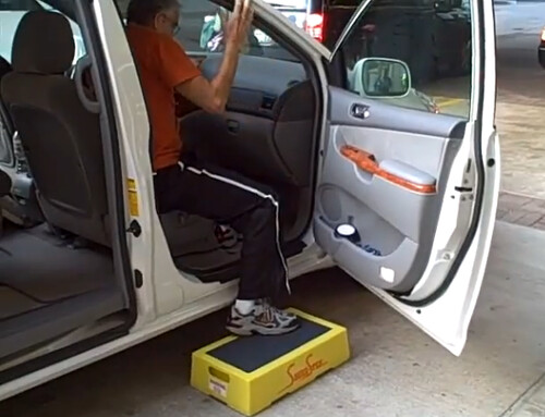 This is an example of post surgery patient getting in an SUV easily with the aid of Senior Step Stool. http://www.youtube.com/watch?v=wOlBu8Z0tqs