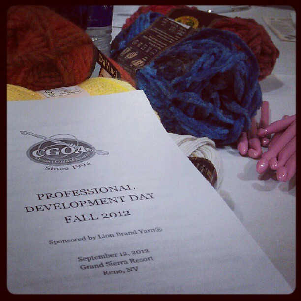 first day at the crochet guild of america conference in renowoo!