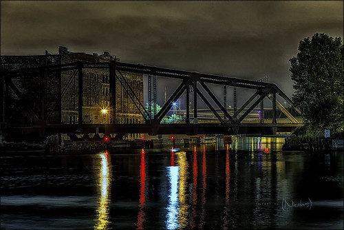 Midnight over Milwaukee River and Milwaukee Cold Storage Railroad Bridge