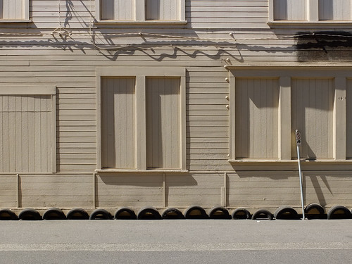 Wooden Building with Bumpers, Portland Oregon, USA