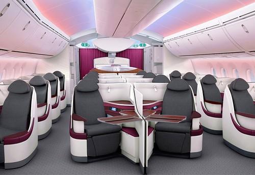 Qatar Boeing 787 Business Class cabin