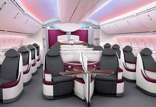 Qatar 787 Business Class cabin