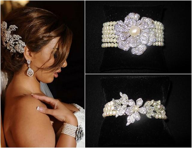 brooch and 6 strand pearl bridal bracelet, vintage-inspired bridal bracelet