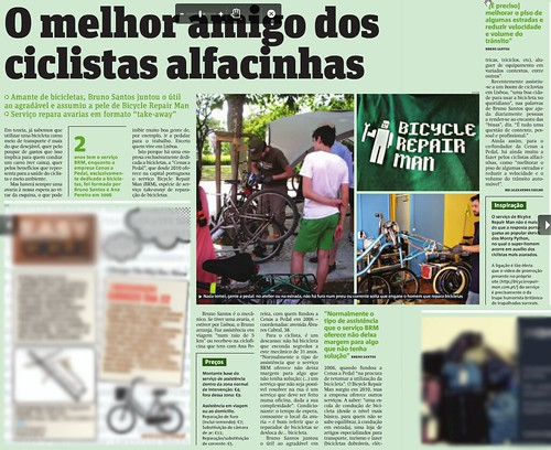 Artigo sobre o Bicycle Repair Man no jornal Metro (Lisboa) de 21/09/2012