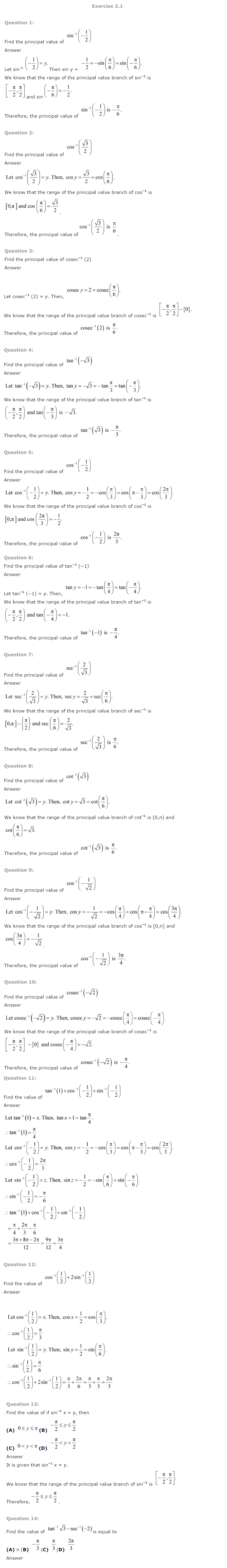 NCERT Solutions for Class 12 Maths Chapter 2 – Inverse