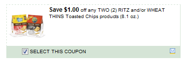 $1.00/2 Ritz And/or Wheat Thins Toasted Chips Products 8.1 Oz. Coupon