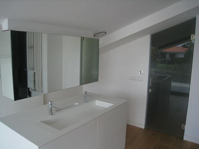 puerta con vidrio dark grey y lavabo en clear white armario para cocina de cristal