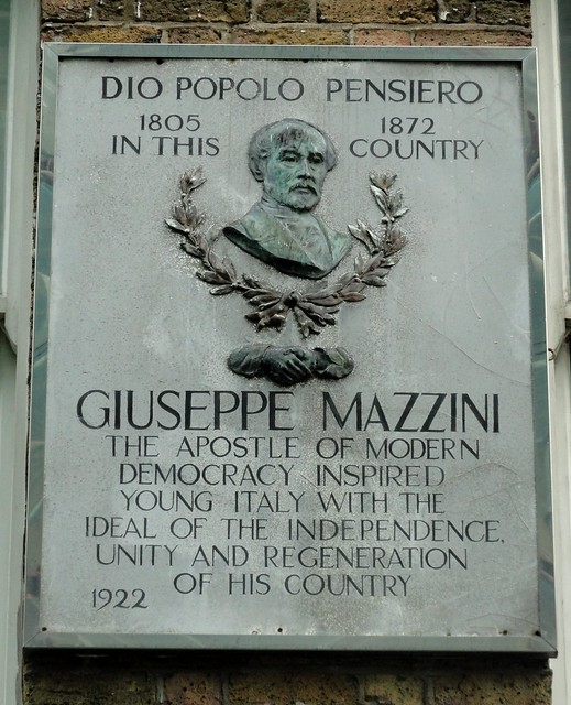 Giuseppe Mazzini stone plaque - Dio Popolo Pensiero 1805-1872 in this country. Giuseppe Mazzini the apostle of modern democracy inspired young Italy with the ideal of independence unity and regeneration of his country.