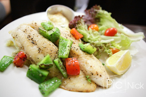 Pan-seared Dory Fillet with grilled capsicum & petite salad by side