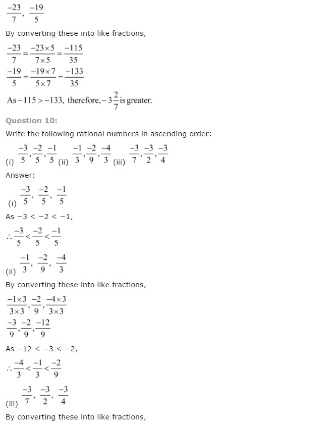 CBSE Solutions for Class 7th Maths Chapter 9 Rational Numbers Exercise 9.1