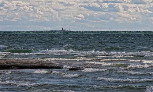 lighthouse clouds waves northbeach lakeontario princeedwardcounty pec scotchbonnet