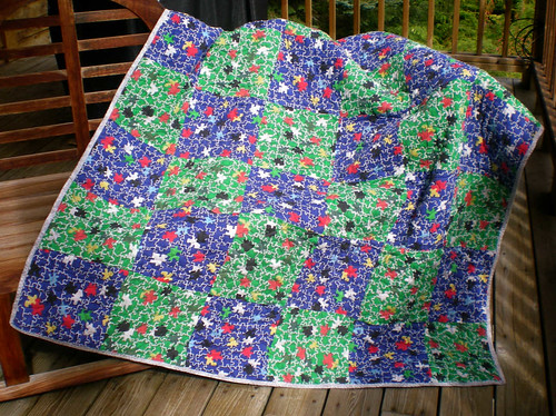 MJ 55x72 blue and green puzzle quilt