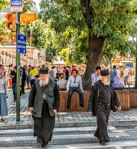 two priests crossing the street near the Hagia Sophia by joeeisner
