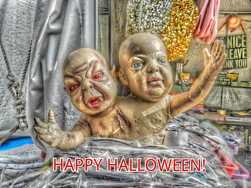 The two headed baby doll wishes you a Happy Halloween!