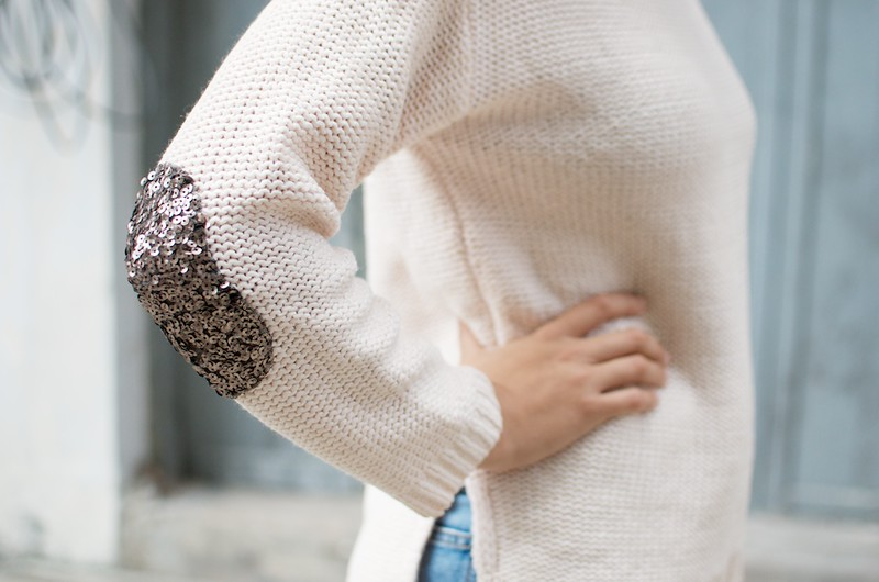DIY SEQUIN ELBOW PATCH SWEATER 1