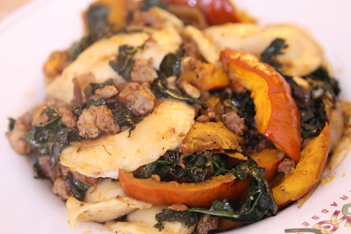 Pierogies with Sausage, Kale, and Roasted Pumpkin